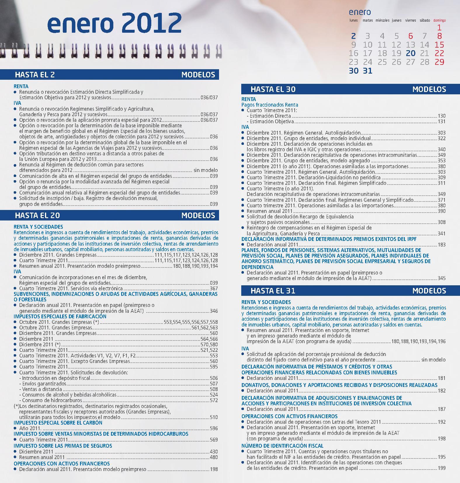 Calendario Contribuyente Enero 2012